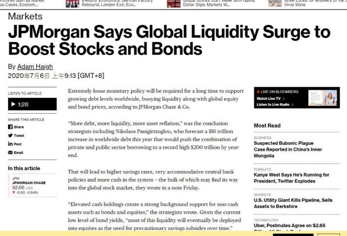 彭博報道,摩根大通認為當下極端寬鬆的貨幣政策,全球流動性推升到全新高度,全球股市、債市雙牛的局面將會出現。