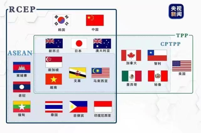 RCEP和CPTPP有7個成員國重叠。央視新聞圖片