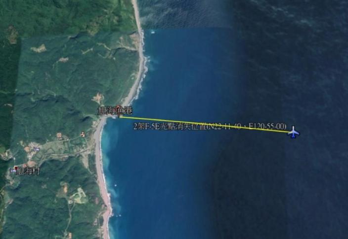 2架F-5E光點消失位置。東森新聞圖片