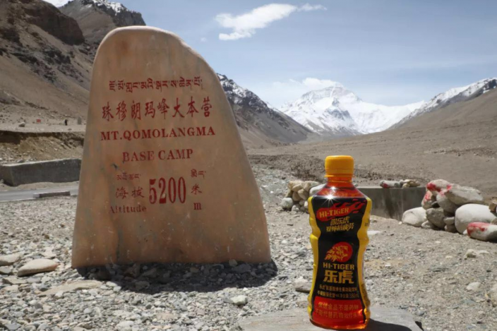 樂虎5月與中國登山隊一起登上珠峰的留影