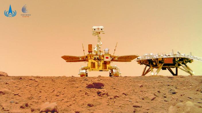 火星車與着陸平台「著巡合影」圖。