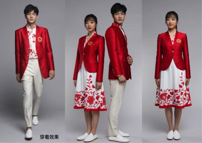 「開門紅」為主題的中國隊入場禮儀服裝。