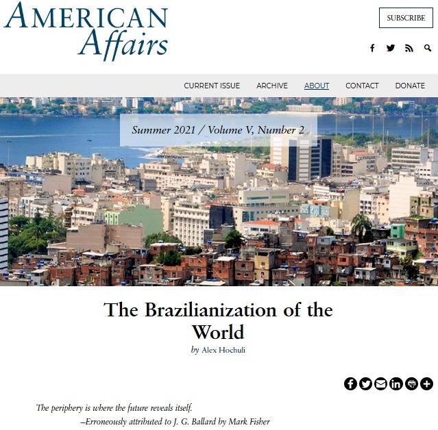 《美國事務》刊登《世界的巴西化》一文,背景是巴西現代化都市中的貧民窟。