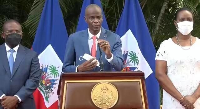 遇刺前的海地總統莫伊茲在其社交網站主頁上發佈的視頻截圖。