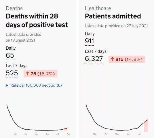 英國新冠的死亡人數和住院人數反向上升。