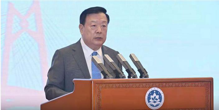 港澳辦主任夏寶龍7月16日在《香港國安法》實施一周年研討會發表講話。資料圖片