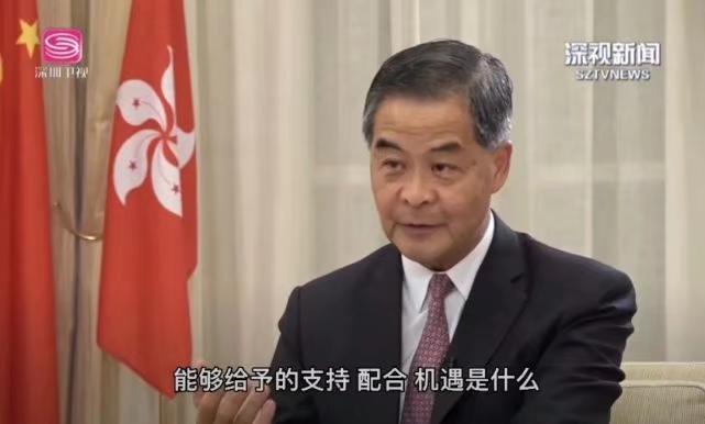全國政協副主席梁振英接受深圳衛視專訪。