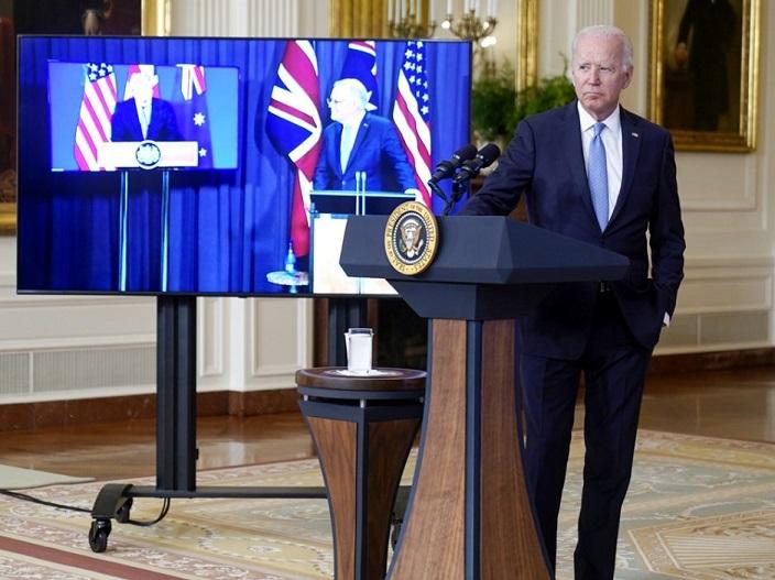 美英澳宣布建立安全夥伴關係。AP圖片
