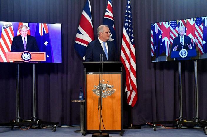 澳大利亞將獲得核動力攻擊潛艇,即刻同法國毀約。AP圖片