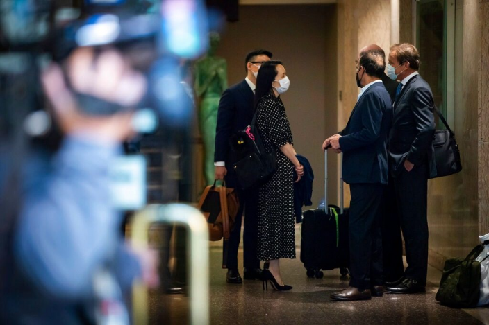 孟晚舟搭乘中國政府包機回國。AP圖片