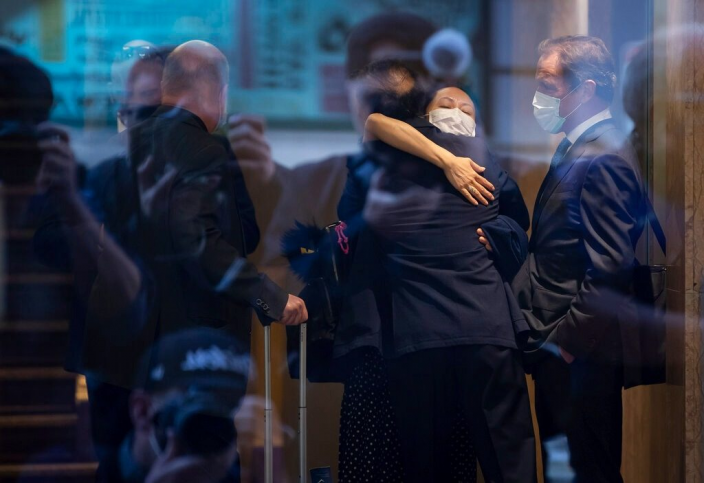 孟晚舟以不認罪的方式最終獲釋。AP圖片
