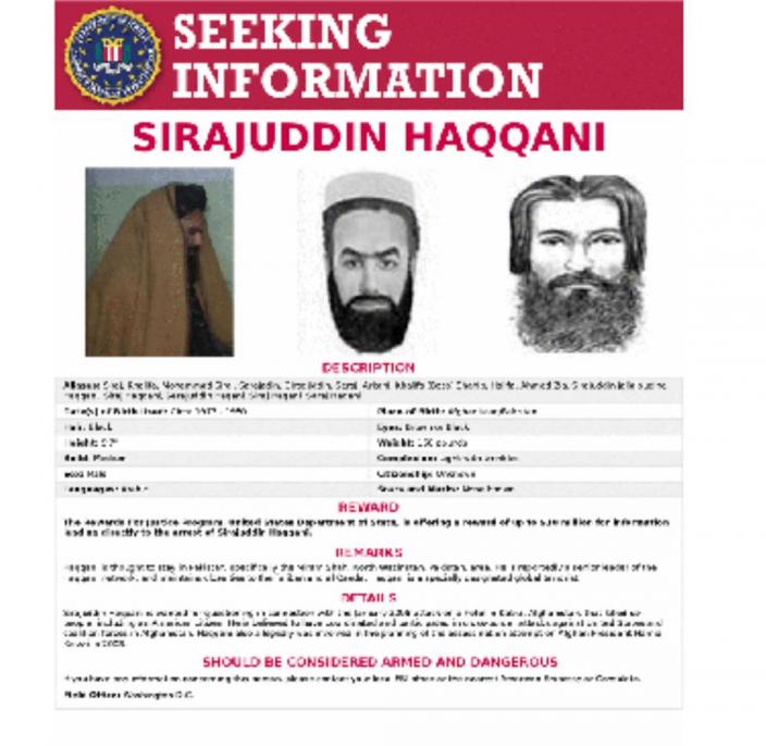 西拉傑丁.哈卡尼是美國FBI的頭號通緝犯。網上圖片