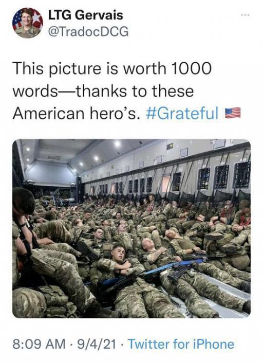 美國陸軍中將熱爾韋的帖文。