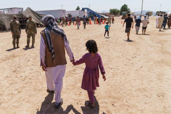 阿富汗難民被安置在布利斯堡陸軍基地。AP