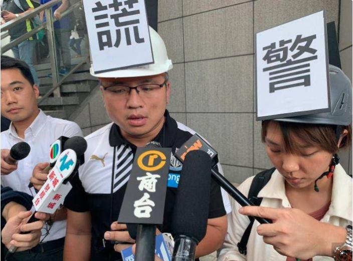 記協主席陳朗昇當日在警察記者會請願。