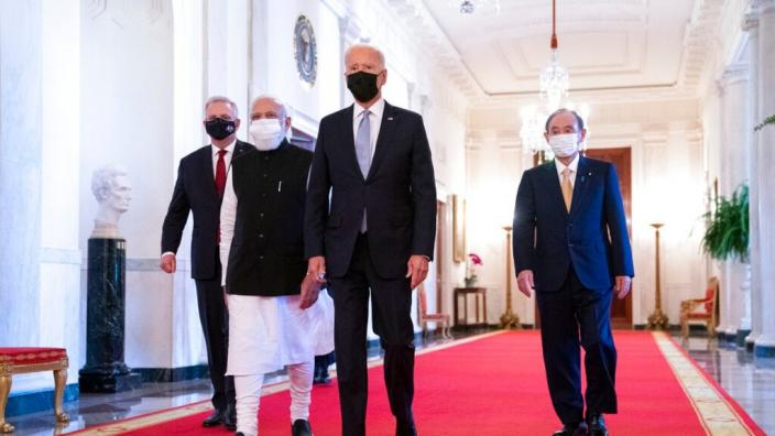 美日印澳領導人9月24日在美國舉行四方安全對話(Quad)面對面峰會。